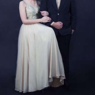 Gown long dress gaun pesta prewedding prom party semi gold