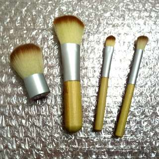 4-Piece Bamboo Travel Makeup Brush Set