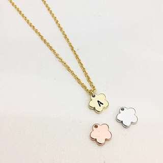 "NL047- Personalised Neckkace Minimalist Necklace Modern Minimalist Jewelry with ""1 Alphabet"" Little Flower Flora Charm - Shiny Gold, Shiny Rose Gold OR Shiny Rhodium Plated - Made To Order - 1 Capital Letter Only"