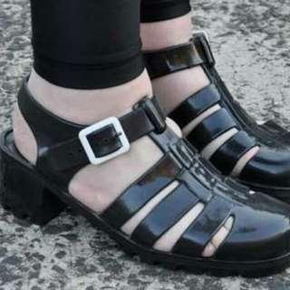 Authentic JuJu Jelly Black Block heels