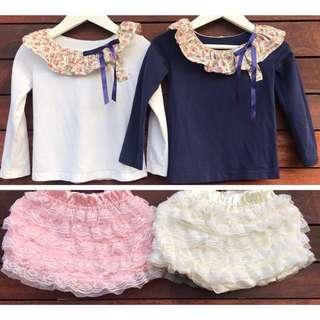 4 pcs girls lace tops + shorts size 2