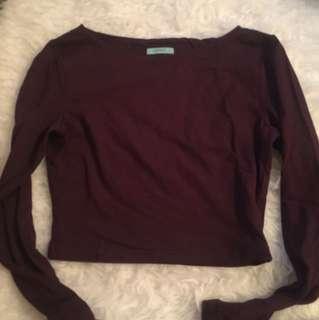 Kookai soft stretchy burgundy crop top