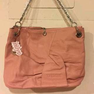 粉橘真皮側斜背兩用包