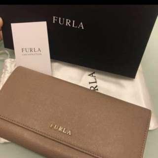 *90%新* Furla purse 奶茶色銀包