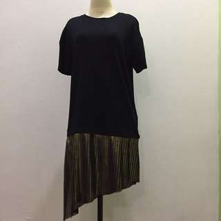 Bershka Black-Gold Pleats Long Shirt
