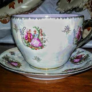 Vintage Cup And Saucer Courting Couple Design BS RCMAN England Brand