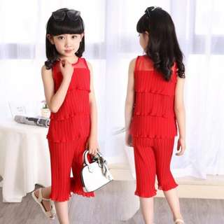 LAST PC OFFER ! 2pc Set Top and Pants Chiffon Girls CNY Clothes