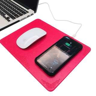 皮革無線充電滑鼠墊