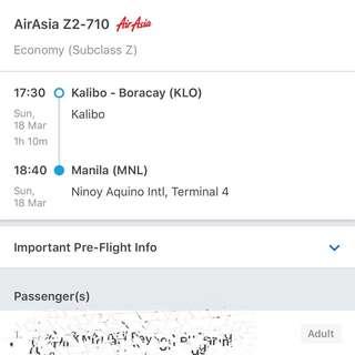 Boracay airfare ticket for 2 (1 male, 1 female)