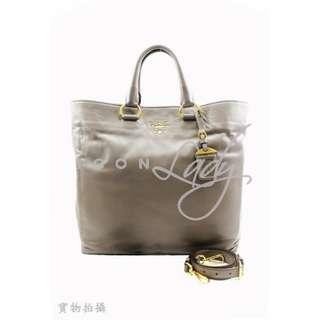 PRADA BN1713 Soft Calf 灰色小牛皮 肩背袋 購物袋 手袋