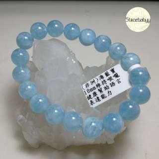 非洲料海藍寶10mm 水晶鏈