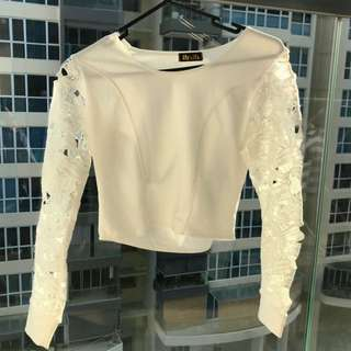 White Lace Long Sleeved Top