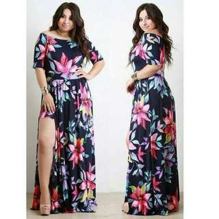 PLUS SIZE FLORAL PRINT MAXI DRESS P429