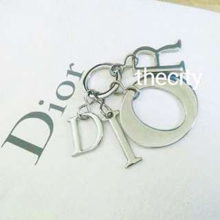 AUTHENTIC DIOR SILVER CHARM KEYCHAIN