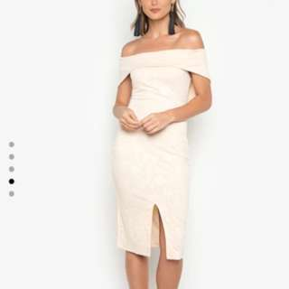 FREE SHIPPING! Formal Nude Off Shoulder Dress
