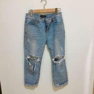 Queen Shop 牛仔破褲 男友褲