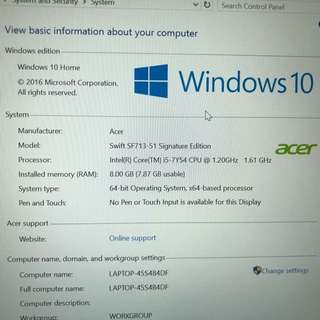 Acer Swift 7 for quick sale MINT condition..