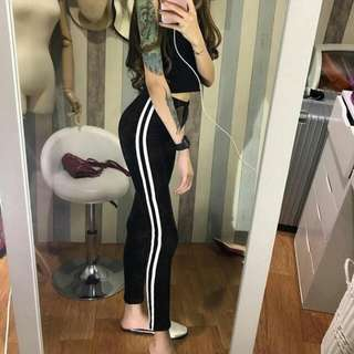 Best seller! Velvet stripe legging suede pants bkk bangkok import