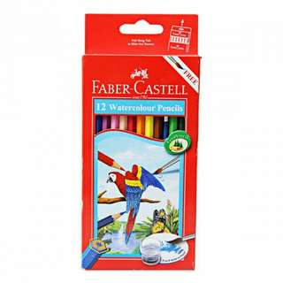 Pensil Warna Water Colour 12 L Faber Castell FREE Kuas