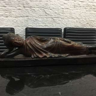 Sleeping Buddha wood carving statute acquired from Cambodia