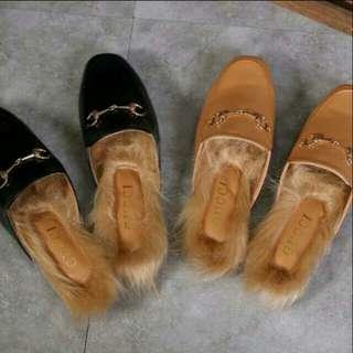 Gucci princetown mule shoes fur