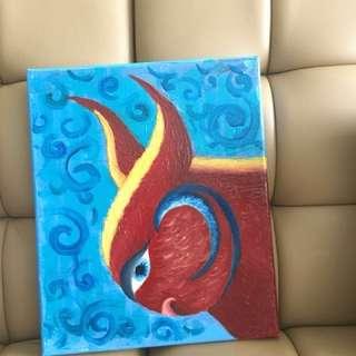 Oil painting (Bull of fire) artwork