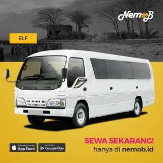 Sewa mobil wisata ELF (16-18 seats) murah dan berkualitas di Jakarta. Hubungi Nemob.