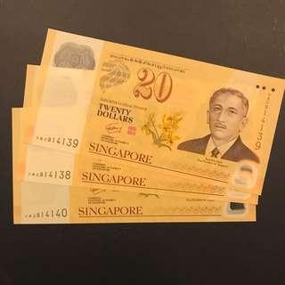 3 Runs 0AC prefix Commemorative - Singapore Brunei $20 note - GEM UNC