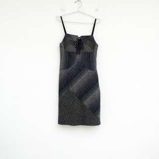 🚚 二手 灰色 條紋 拼接 毛料 洋裝 明太子 0221