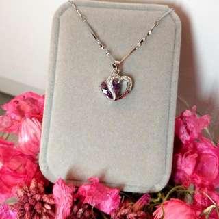 簡約可愛紫水晶心形經典閃亮頸鏈 Simple and Lovely Amethyst Heart-Shaped Classic Shiny Necklace