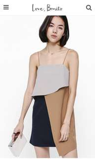 LB Lanse Layered Colour Block Dress in Brown (M)