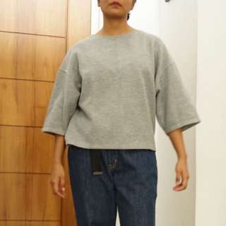 STRADIVARIUS Gray Boxy Top