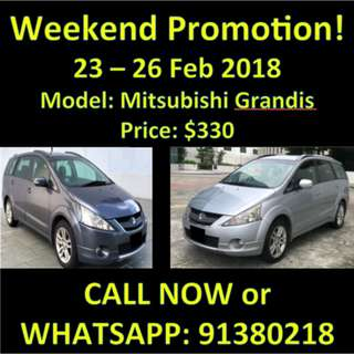 23-26 Feb $300 Mitsubishi Grandis Weekend Sale