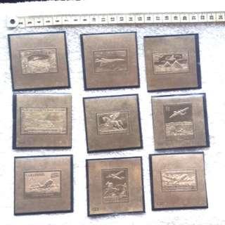 9 pcs 23K gold stamp