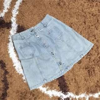 Skirt jeans mini rok wanita blue light muda