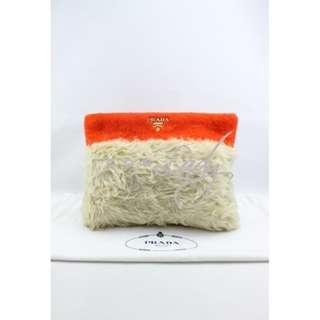 PRADA Wool Mohair 橙色絨布配羊毛 晚宴袋 手拿包 晚宴袋 手袋