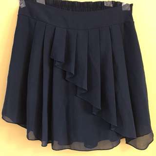 Dark Blue Pleated Skort