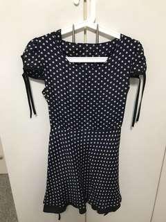 Retro polka dots navy dress