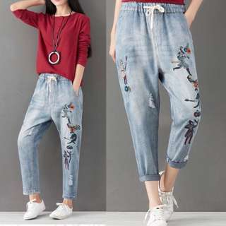 (S~3XL) 2018 spring hole easing elastic waist embroidered jeans pants harem pants
