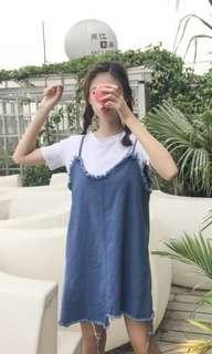 Light Frayed Denim Dress