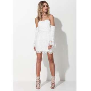 Mossman White Lace Sleeve Dress Party