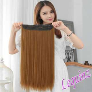 5 Clips Straight Hair Extensions Golden Caramel