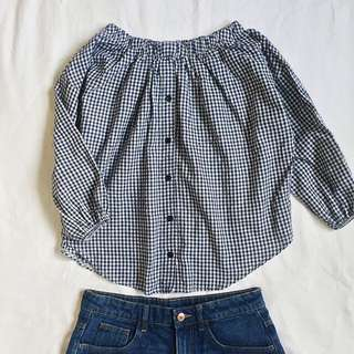 GINGHAM HQ Off-shoulder