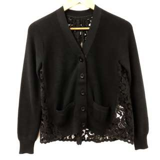 Sacai black withvlace and gold chains  cardigan size 1