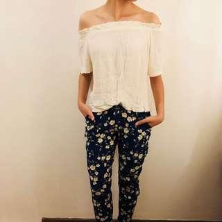 White off shoulder + floral pants set
