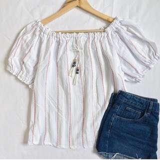 Bohemian Stripes White Off-shoulder