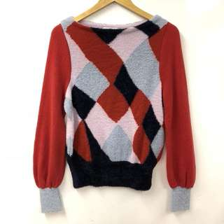 Nearly New TC red with checkers sweater top size 2