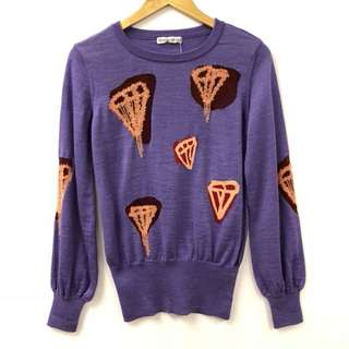 Nearly New TC purple with diamond print sweater top size 2