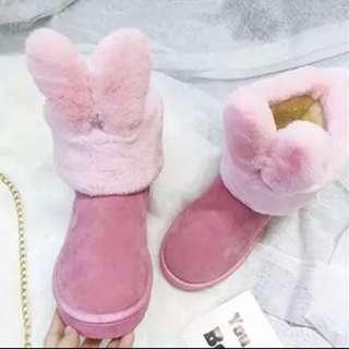 韓版可愛小兔耳朵雪靴~加絨size33