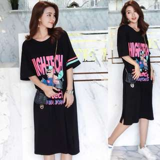 (M~XL) Loose Fitting Korean summer cotton cartoon printing compassionate long black short-sleeved t-shirt dress